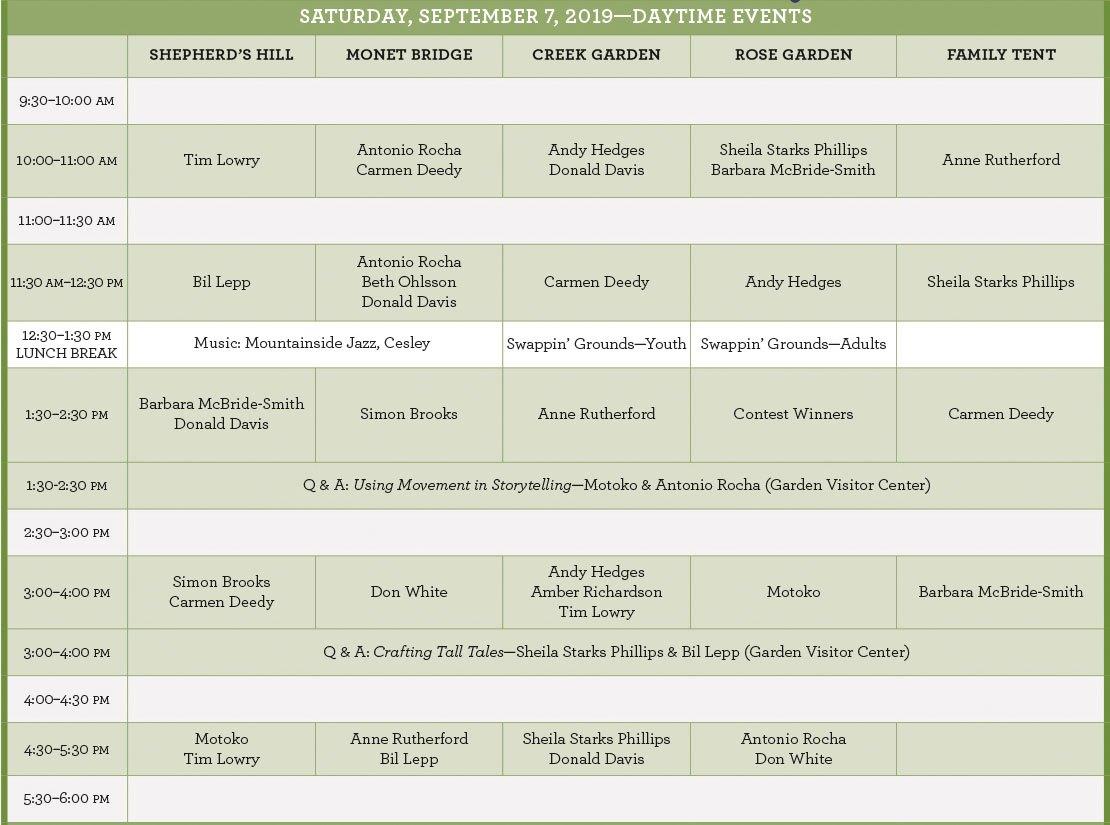 2019 Timpfest Schedule